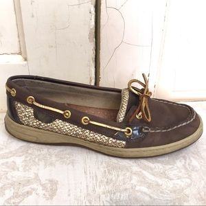 Sperry Topsiders with gold sequined sides